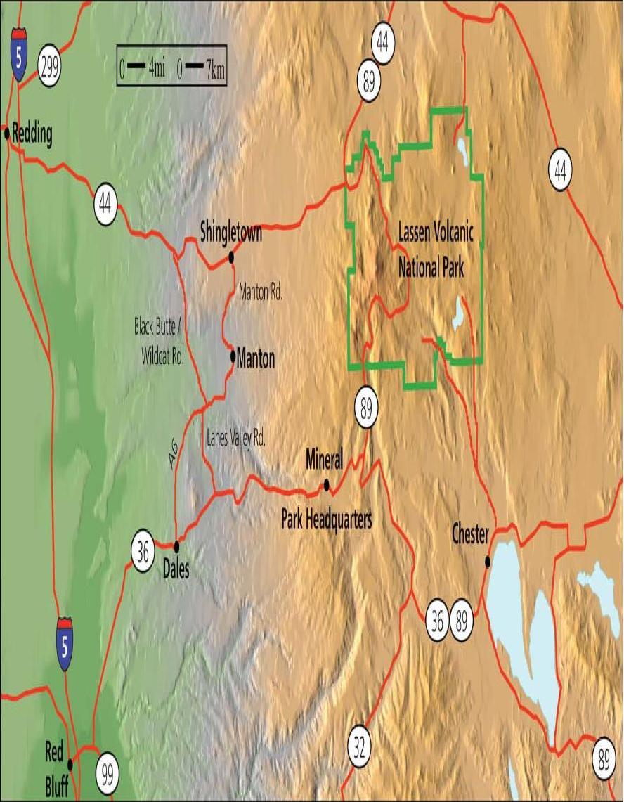Lassen Volcanic National Park Driving Map